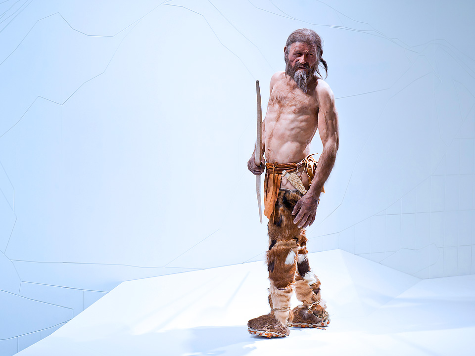 Otzi, the original iceman (or at least a reconstruction, on display at the South Tyrol Museum of Archaeology in Italy). Image credit: OetziTheIceman [CC BY-NC-ND 2.0] via Flickr. Is it just me, or does he look a bit like a young Harvey Keitel?