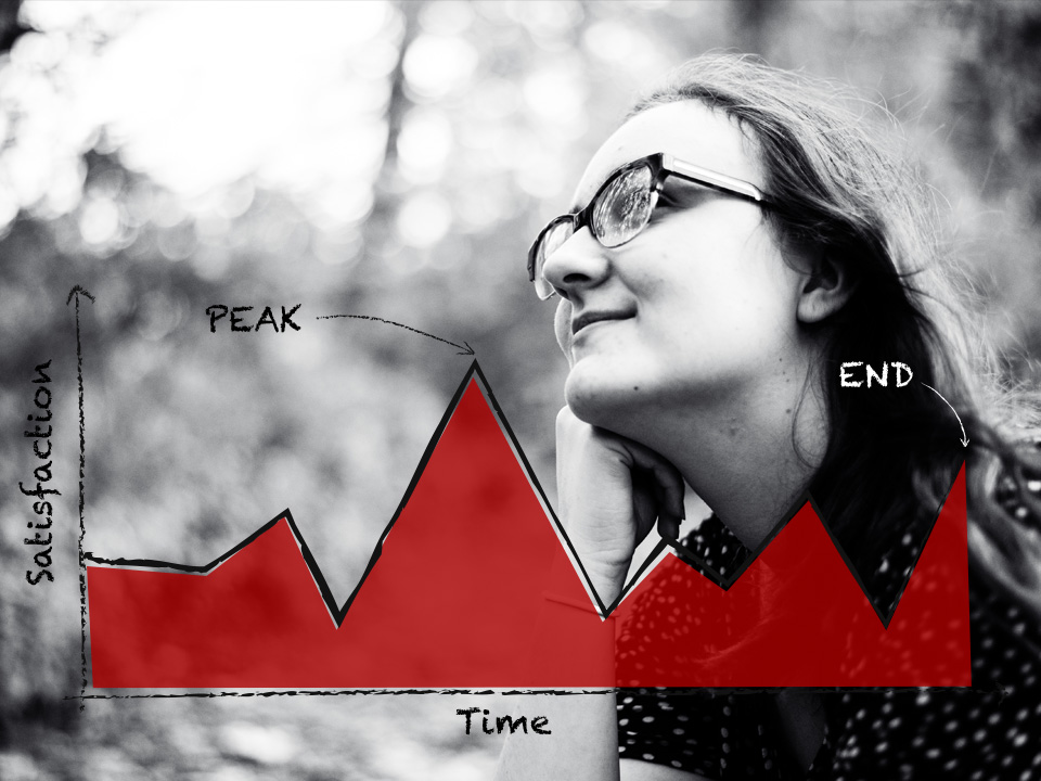According to the Peak End Rule, we tend to judge an experience by its highs and lows (peaks) or the last part (end). Image credit: Alex Medick via Flickr.
