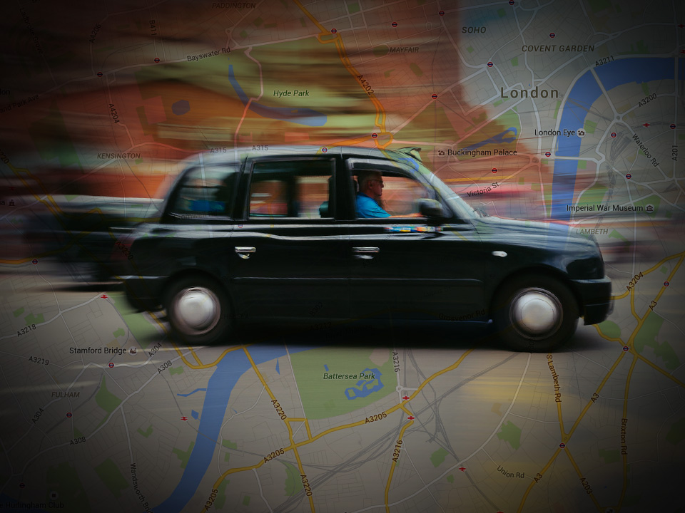 Research shows observable changes to London taxi drivers' brains before and after learning the city's complex road network. Image credit Glenn3095 via Flickr and Google maps